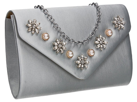 SWANKYSWANS Leila Clutch Bag Silver Cute Cheap Clutch Bag For Weddings School and Work