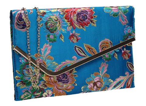 SWANKYSWANS Cedar Floral Slim Clutch Bag Teal Cute Cheap Clutch Bag For Weddings School and Work