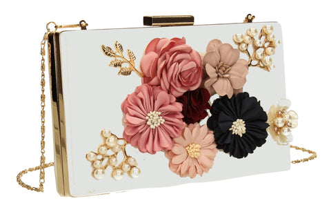 Vanda 3D Floral Box Evening Clutch Bag White