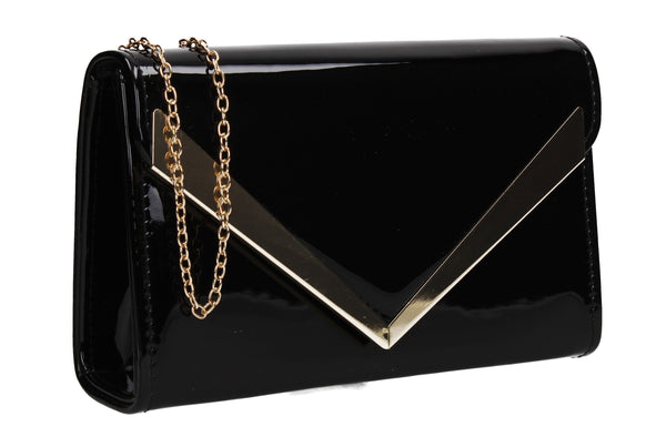 SWANKYSWANS Wendy V Patent Clutch Bag Black Cute Cheap Clutch Bag For Weddings School and Work
