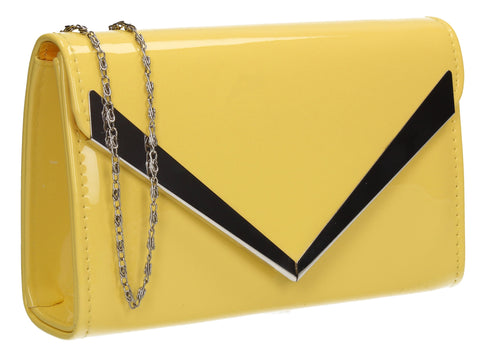 Wendy V Patent Clutch Bag Yellow