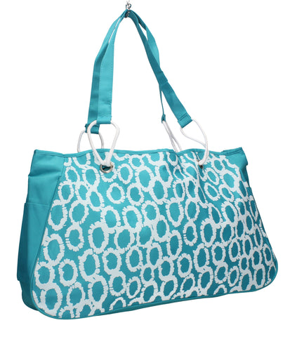 Swanky Swans Ring Print Beach Tote Bag Summer Handbag Light BluePerfect for School, Weddings, Day out!