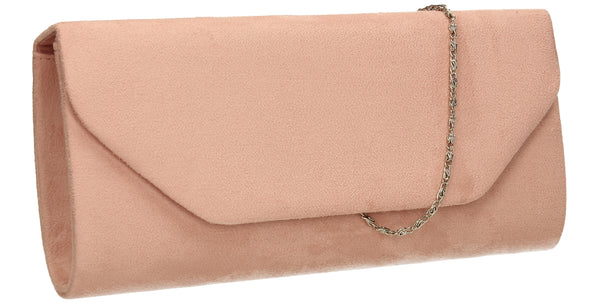 SWANKYSWANS Isabella Velvet Clutch Bag Blush Cute Cheap Clutch Bag For Weddings School and Work