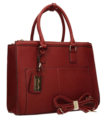 Naples Cosmo City Work Bag - Burgundy-Handbags-SWANKYSWANS