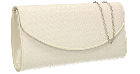 SWANKYSWANS Anny Weave Flapover Clutch Bag White Cute Cheap Clutch Bag For Weddings School and Work