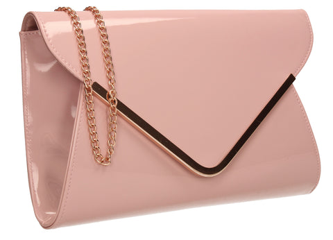 SWANKYSWANS Billie Envelope Clutch Bag Pink Beige Cute Cheap Clutch Bag For Weddings School and Work