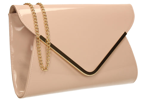 SWANKYSWANS Billie Envelope Clutch Bag Beige Cute Cheap Clutch Bag For Weddings School and Work