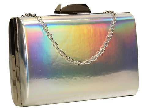 SWANKYSWANS Arizona Metallic Clutch Bag Holograpic Cute Cheap Clutch Bag For Weddings School and Work