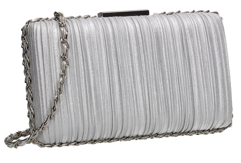 SWANKYSWANS Lacey Chain Clutch Bag Silver Cute Cheap Clutch Bag For Weddings School and Work