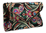 SWANKYSWANS Cedar Floral Clutch Bag Black Cute Cheap Clutch Bag For Weddings School and Work
