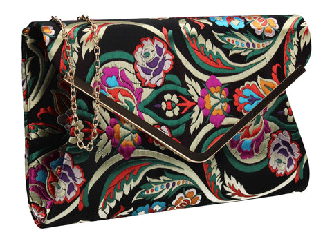 Cedar Floral Clutch Bag Black SWANKYSWANS Summer Faux Suede Stitching Cute Vintage Floral Clutch Bag Great With Jeans