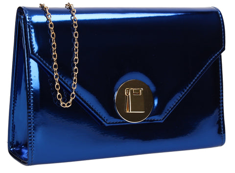 SWANKYSWANS Angel Reflective Shiny Clutch Bag Blue Cute Cheap Clutch Bag For Weddings School and Work