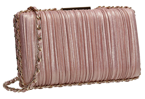 SWANKYSWANS Lacey Chain Clutch Bag Champagne Cute Cheap Clutch Bag For Weddings School and Work