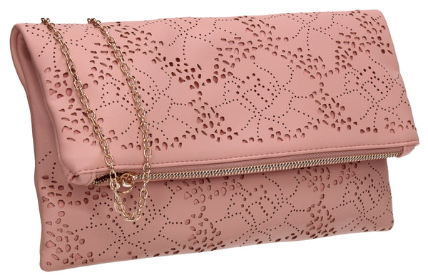 SWANKYSWANS Lena Clutch Bag Pink Beige Cute Cheap Clutch Bag For Weddings School and Work