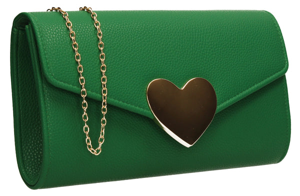 SWANKYSWANS Corrie Heart Clutch Bag Green Cute Cheap Clutch Bag For Weddings School and Work