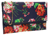 SWANKYSWANS Kate Floral Clutch Bag Navy Cute Cheap Clutch Bag For Weddings School and Work