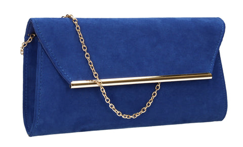 SwankySwans Sabrina Clutch Bag Royal Blue Blue Clutch Bag Faux Suede Flapover Night Out Party