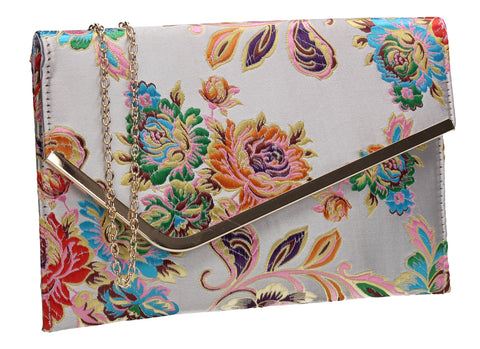 SWANKYSWANS Cedar Floral Slim Clutch Bag Silver Cute Cheap Clutch Bag For Weddings School and Work