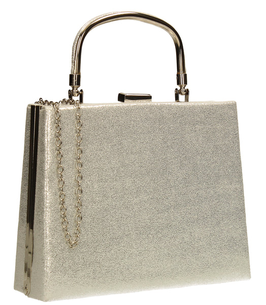 SWANKYSWANS Roma Shiny Clutch Bag Silver Cute Cheap Clutch Bag For Weddings School and Work