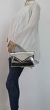 SWANKYSWANS Lenny Shiny Clutch Bag Silver Cute Cheap Clutch Bag For Weddings School and Work