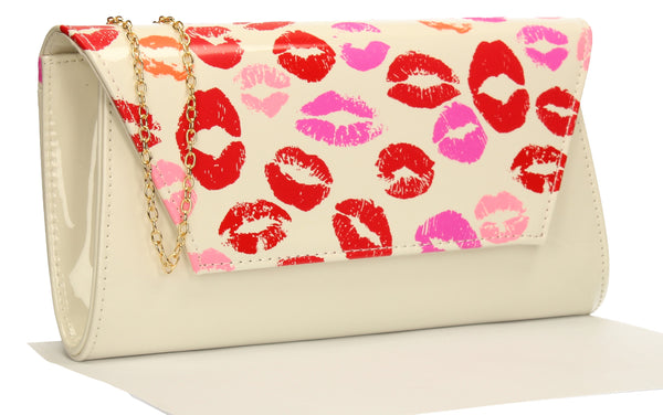 SWANKYSWANS Vicky Kiss Print Clutch Bag White Cute Cheap Clutch Bag For Weddings School and Work