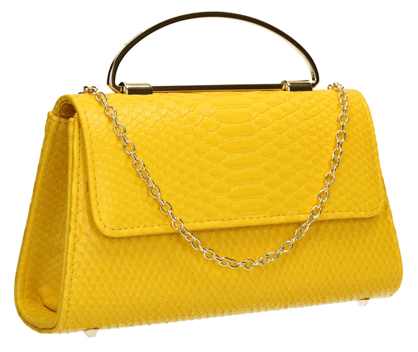 SwankySwans Laura Clutch Bag Yellow Clutch Bag Faux Leather Flapover Faux Leather Yellow