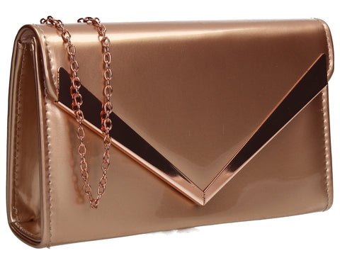 SwankySwans Wendy V Patent Clutch Bag Champagne Clutch Bag Envelope Patent Rose  Synthetic