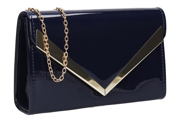 SWANKYSWANS Wendy V Patent Clutch Bag Navy Blue Cute Cheap Clutch Bag For Weddings School and Work