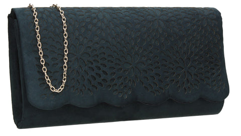 Allison Suede Clutch Bag - Navy Blue-Clutch Bag-SWANKYSWANS