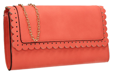 SwankySwans Megan Clutch Bag Coral Clutch Bag Faux Leather Flapover Faux Leather