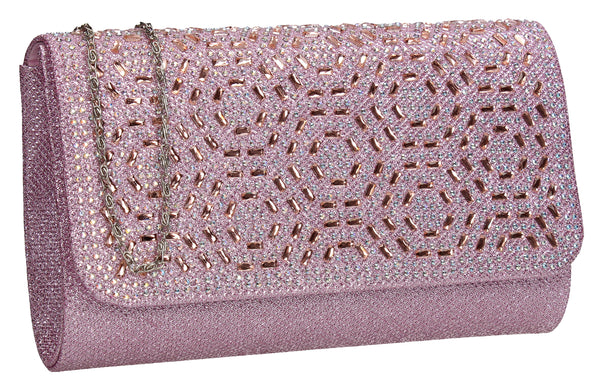 SWANKYSWANS Sophie Diamante Clutch Bag Pink Cute Cheap Clutch Bag For Weddings School and Work