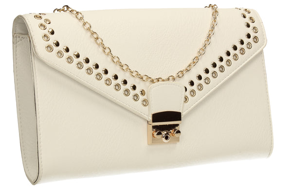 SWANKYSWANS Beni Clutch Bag White Cute Cheap Clutch Bag For Weddings School and Work