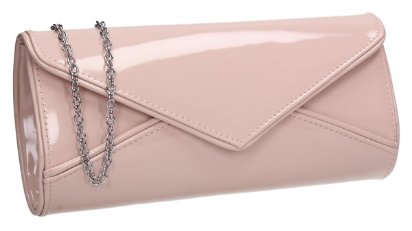 SWANKYSWANS Perry Patent Clutch Bag - Pink Cute Cheap Clutch Bag For Weddings School and Work