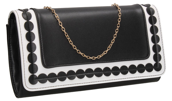 SWANKYSWANS Macy Clutch Bag Black / White Cute Cheap Clutch Bag For Weddings School and Work