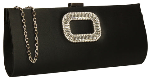Kerr Satin Clutch Bag Black-Clutch Bag-SWANKYSWANS