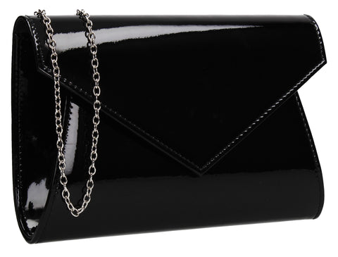 SwankySwans Lenny Shiny Clutch Bag Black Clutch Bag Envelope Faux Leather Patent Shiny