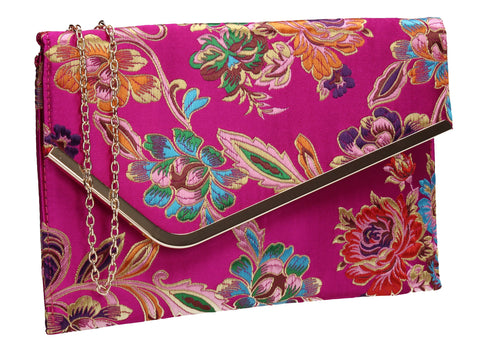 SWANKYSWANS Cedar Floral Slim Clutch Bag Fuschia Cute Cheap Clutch Bag For Weddings School and Work