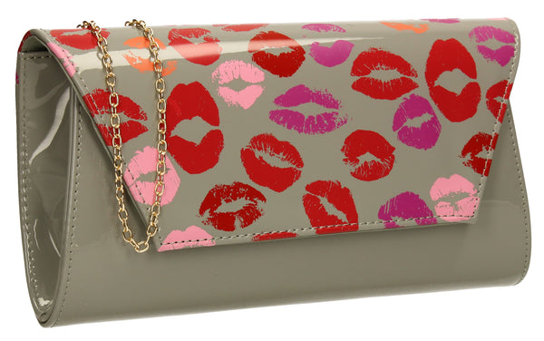 SwankySwans Vicky Kiss Print Clutch Bag Grey Clutch Bag Envelope Flapover Grey Party Patent