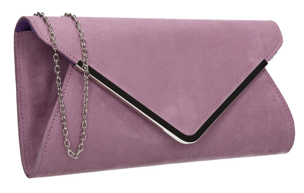 SWANKYSWANS Karlie Suede Clutch Bag Lilac Cute Cheap Clutch Bag For Weddings School and Work