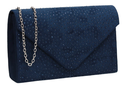 Sidney Diamante Clutch Bag Navy Swanky Swans Beautiful Clutch Fun Party Glitter Animal Sequin Clutch Bag