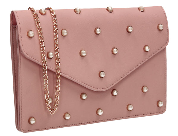 SWANKYSWANS Emily Pearl Clutch Bag Pink