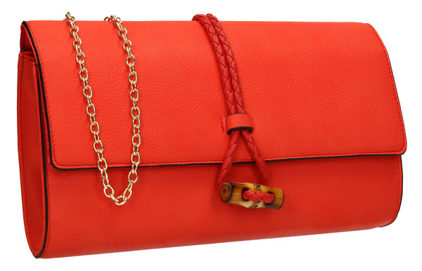 SwankySwans Sophia Clutch Bag Scarlet Clutch Bag Faux Leather Flapover Party Red