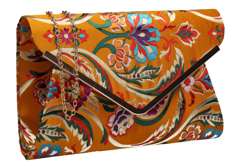 SWANKYSWANS Cedar Floral Clutch Bag Yellow Cute Cheap Clutch Bag For Weddings School and Work