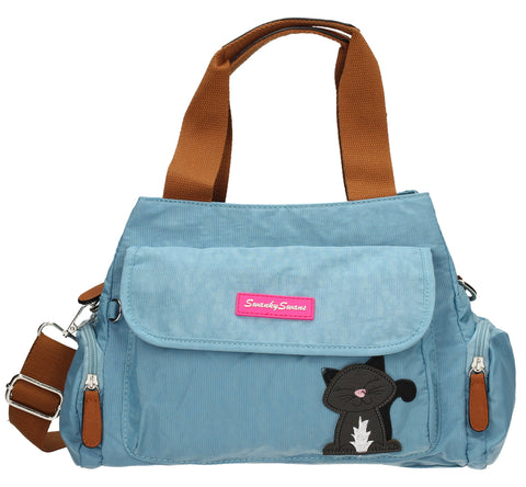 Julie Kempton Shoulder Day Bag with Cat Motif - Ice Blue-Handbags-SWANKYSWANS
