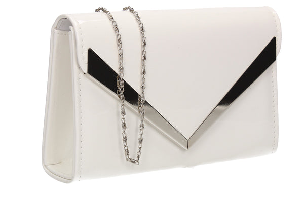 SWANKYSWANS Wendy V Patent Clutch Bag White Cute Cheap Clutch Bag For Weddings School and Work