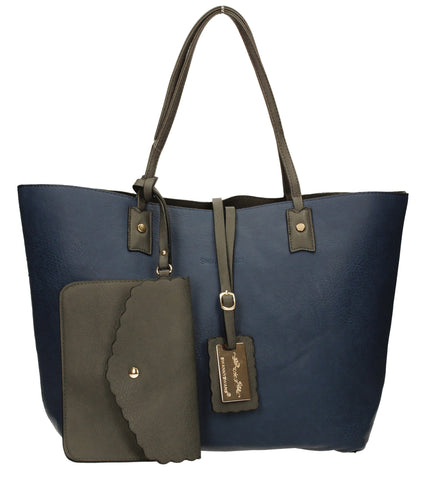 Nina Large Reversible Totebag - Navy & Grey-Handbags-SWANKYSWANS