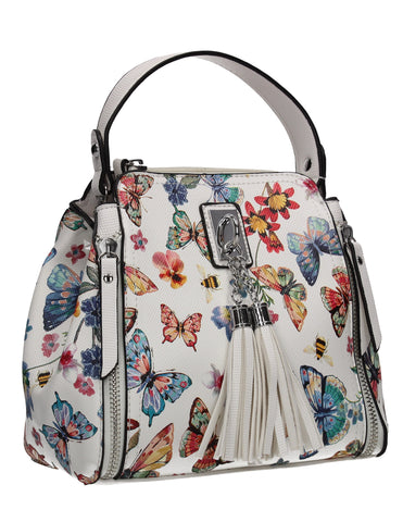 Anita Butterfly Handbag WhiteBeautiful Cute Animal Faux Leather Clutch Bag Handles Strap Summer School