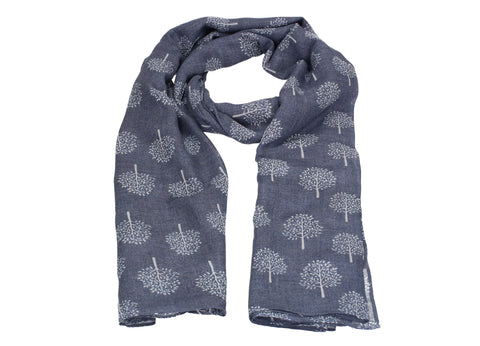 Mulberry Tree Print Scarf Blue
