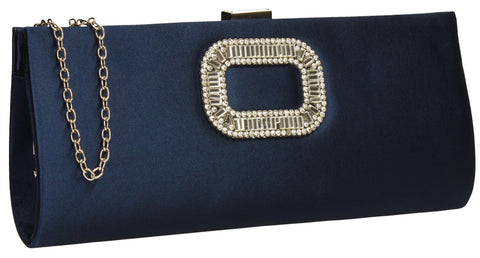Kerr Satin Clutch Bag Navy-Clutch Bag-SWANKYSWANS