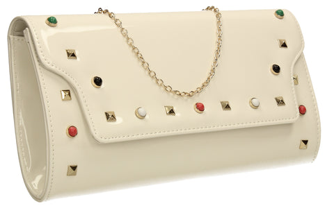 Mya Patent Clutch Bag White-Clutch Bag-SWANKYSWANS